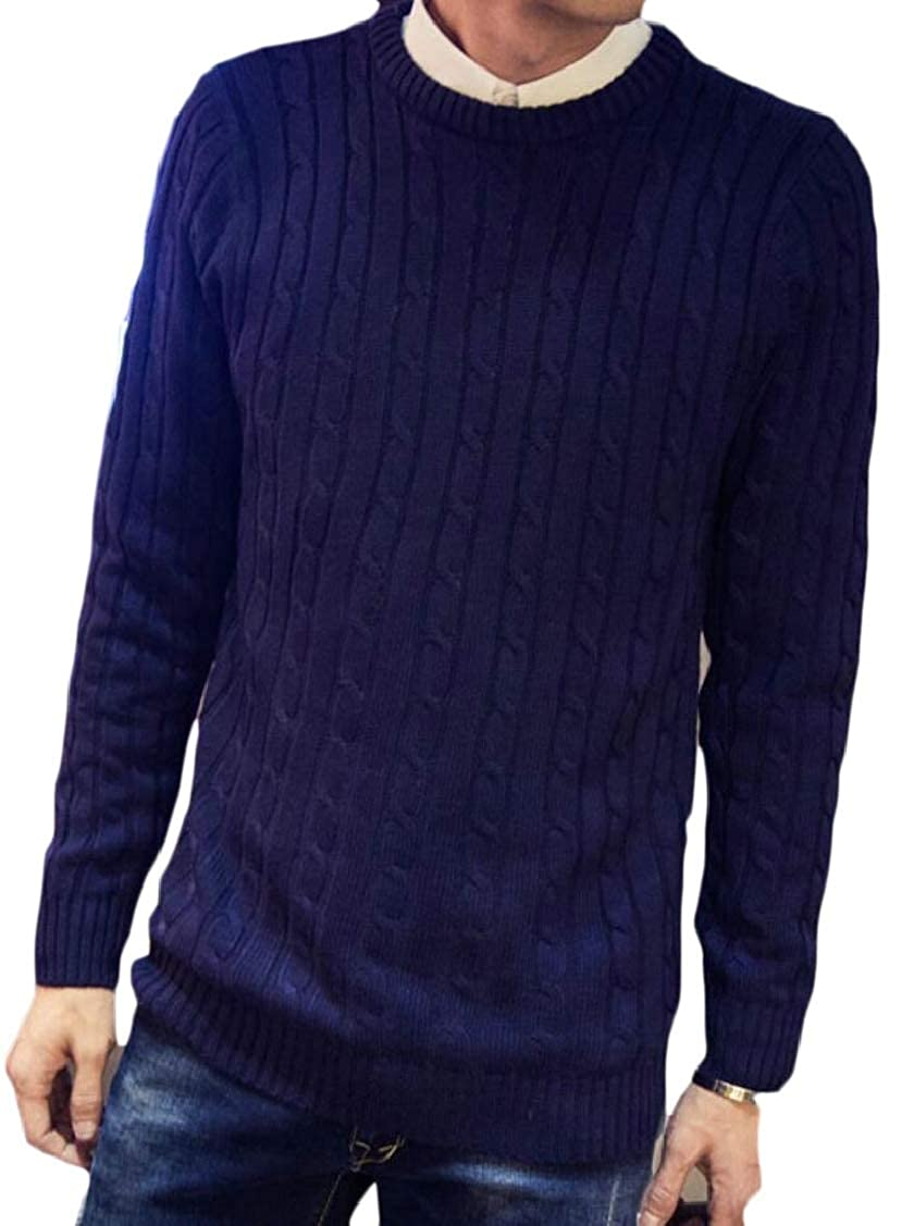 XQS Mens Slim Fit Winter Knitting Solid Color Crewneck Knitwear Pullover Sweaters
