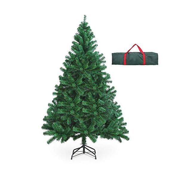 OUSFOT Albero di Natale 180cm con Custodia 800 Rami Supporto Pieghevole in Metallo Alberi di Natale Artificiale PVC Facile da Montare per Natalizie Decorazioni da Interno e All'aperto 1 spesavip