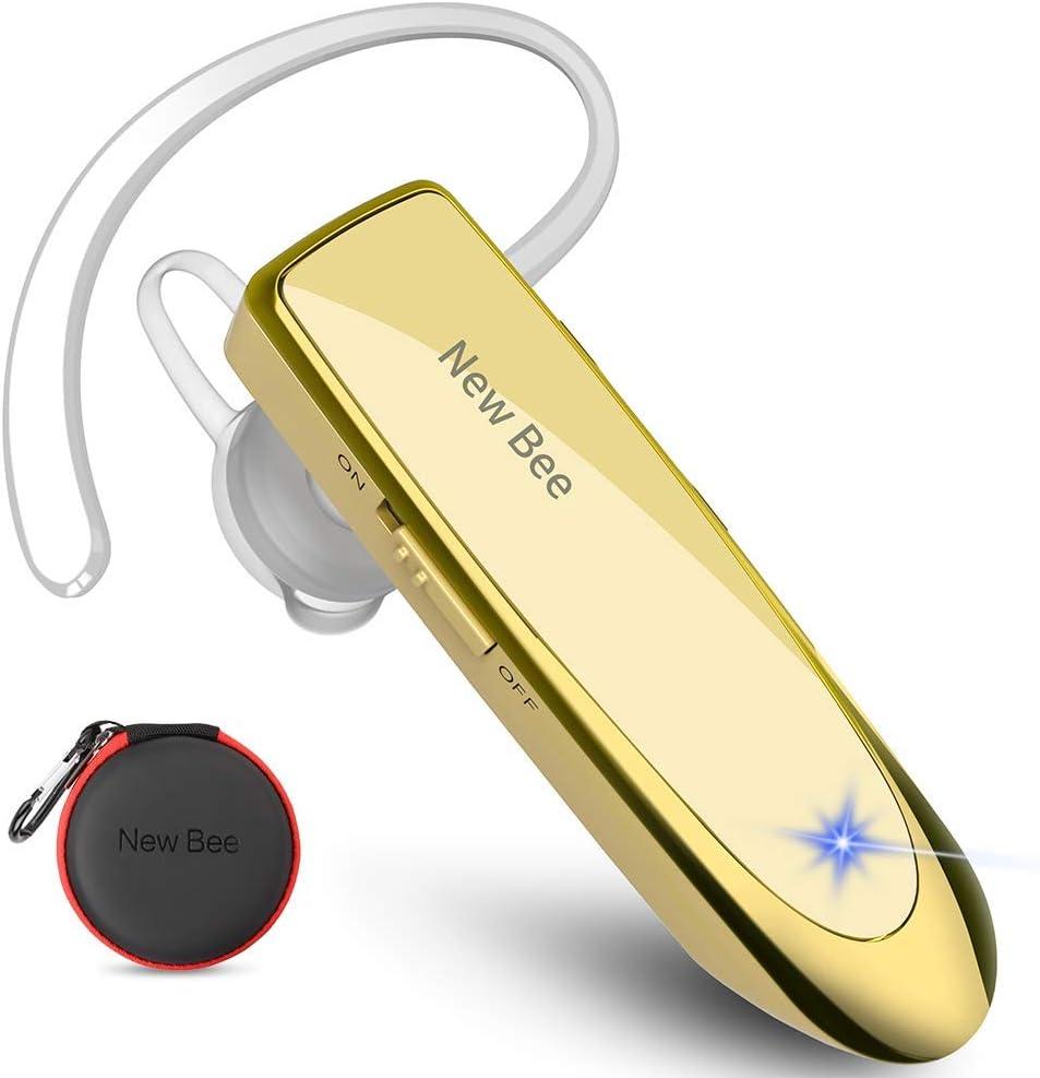 Auriculares Manos Libres, New Bee Auricular Bluetooth Inalámbrico Negocio con Micrófono Auricular para iPhone, Samsung, Huawei, Xiaomi, HTC, LG, Sony, PC 60 Días en Espera (Oro)