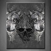First Wall Art - Black And White Wolf Over And Human Skeleton Wall Art Painting Pictures Print On Canvas Animal The Picture For Home Modern Decoration (Stretched By Wooden Frame,Ready To Hang)