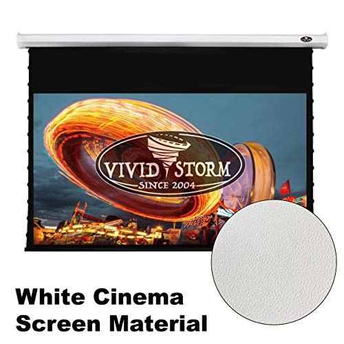 (VIVIDSTORM Home Theater 8K/4K UHD Projection,Deluxe Tensioned Screen,Electric Motorized Drop Down Projector Screen,100-inch Diag 16:9, White Cinema Material, Wireless 12V Projector Trigger,V6JLW100H)