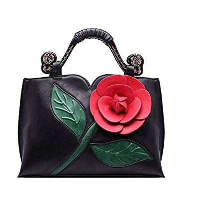 Celsino Women Handbag Clutch Purses Shoulder Bag Large Flower PU Leather with Wooden Handle Bags