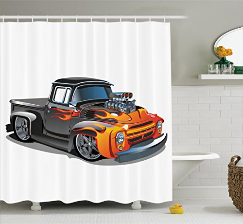 Ambesonne Manly Decor Collection, Cartoon Hot Rod Car Truck Antique Old Model Automobile Transport Nostalgia Image, Polyester Fabric Bathroom Shower Curtain, 75 Inches Long, Orange Grey Hot Rod Truck