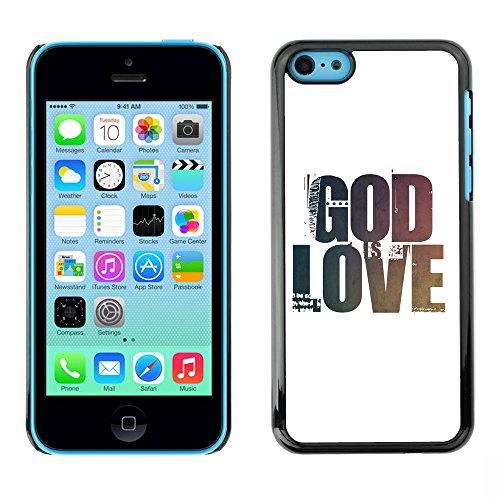 DREAMCASE Citation de Bible Coque de Protection Image Rigide Etui solide Housse T¨¦l¨¦phone Case Pour APPLE IPHONE 5C - GOD IS LOVE, HE IS PATIENT, HE IS KIND
