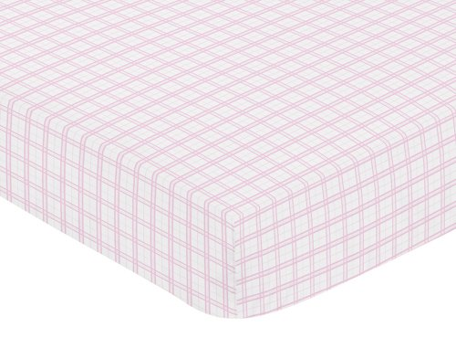 - Sweet Jojo Designs Pretty Pony Fitted Crib Sheet for Baby and Toddler Bedding Sets - Pink Plaid Print
