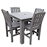 Highwood 5-Piece Lehigh Square Counter Height Dining Set, 42 by 42-Inch, Coastal Teak