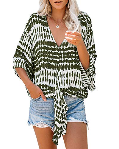 Yobecho Womens Boho V Neck Printed Chiffon Blouse Casual Plus Size Hippie Top (Medium, Green-3) (Printed Chiffon)