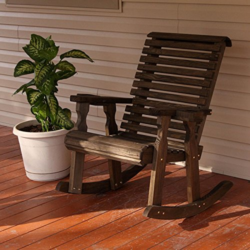 Amish Heavy Duty 600 Lb Roll Back Pressure Treated Rocking Chair With Cupholders (Dark Walnut Stain)