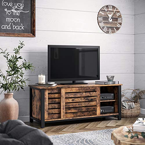 Rustic Bedroom Tv Chest Bedroom Tv Stand Bedroom Tv: VASAGLE Industrial TV Stand, TV Cabinet With Sliding Doors