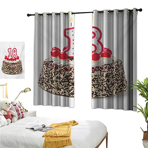 18th Birthday Customized Curtains Sweet Eighteen Party Cake with Candles and Cherries Sprinkle Vibrant Photo W55 x L72,Suitable for Bedroom Living Room Study, etc. -