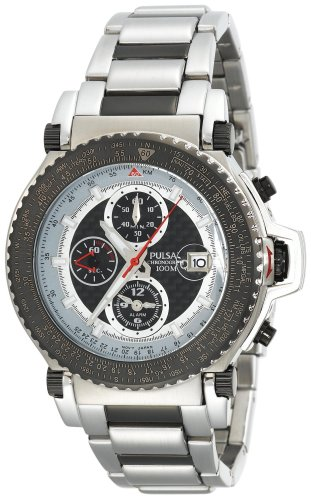 Pulsar Men's PF3779 Tech Gear Flight Computer Alarm Chronograph Black Ion Plated Watch