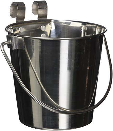 - QT Dog Flat Sided Stainless Steel Bucket with Hooks, 2 Quart