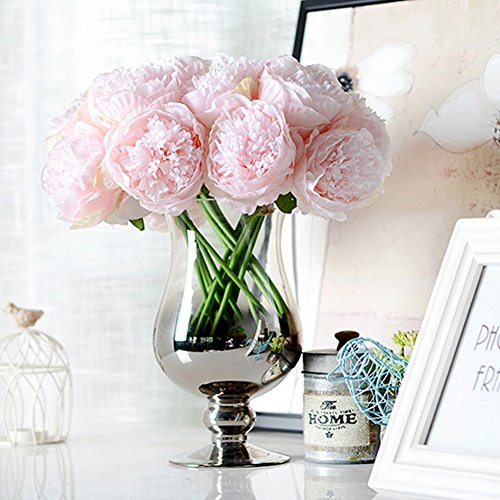 James Cecil 5 Heads Springs Flowers Artificial Silk Peony Bouquets Wedding Home Decoration, Pack of 3 (Baby Pink)