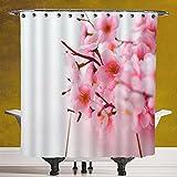 Waterproof Shower Curtain 3.0 [Floral,Cherry Blossom Petals Spring Season Florets in Soft Pastel Tones Art Print,Light Pink White] Polyester Fabric Bath Decorative Curtain Ideas