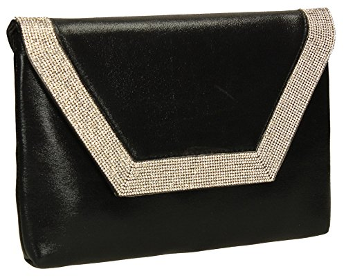 Vegan Bag Diamante Ladies Party Glitter Lilly Womens Prom Black Wedding Clutch Leather Bag SWANKYSWANS qaYEwxwp4