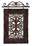 43'' Rustic Antique-Style Rectanglular Damask Hanging Wall Art Plaque