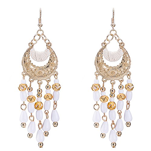 (Earrings for Mom Women Girls Boho Bohemia White Beaded Chandelier Dangle Drop Earrings)