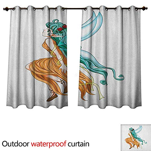 - Anime Outdoor Balcony Privacy Curtain Pixie Girl Caricature with a Long Green Hair and Wings Fantasy Elf W120 x L72(305cm x 183cm)