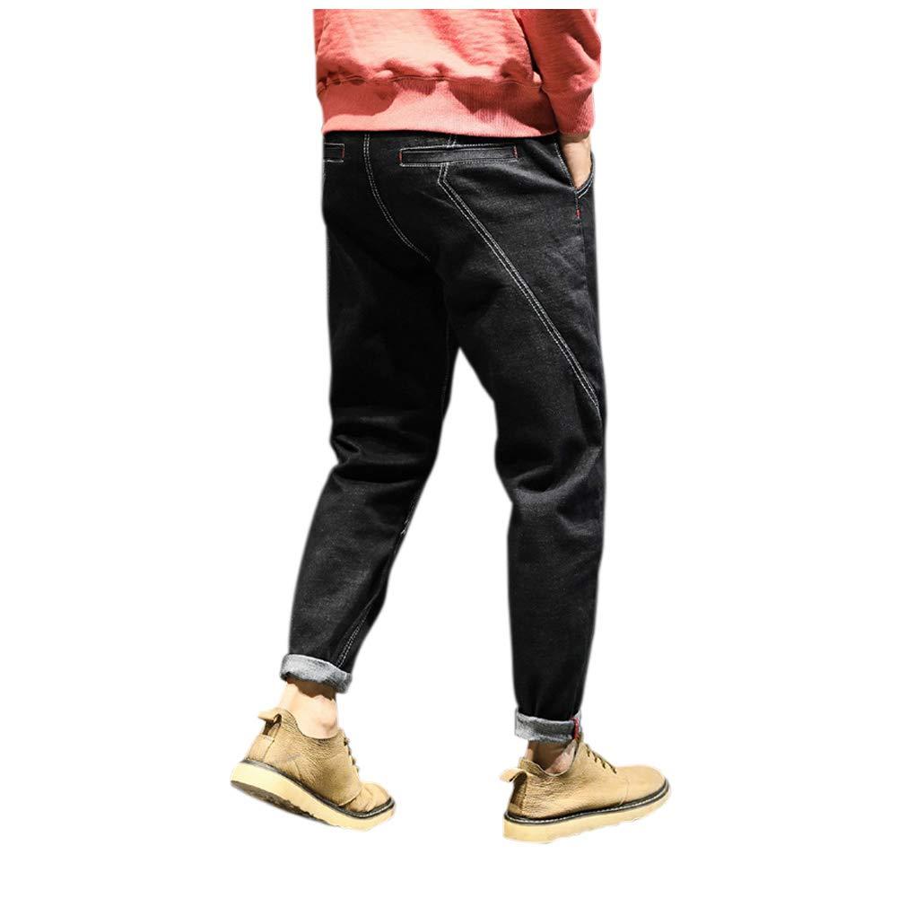 Xingsiyue Black Mens Harem Pants Stretch Washed Jeans Pocket Loose Sweatpants