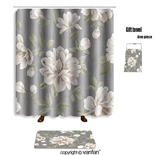 Durable Modeling Vanfan Bath Sets With Polyester Rugs And Shower Curtain Classical Style Pattern Seamless Background