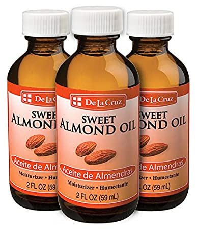 Amazon.com : De La Cruz Sweet Almond Oil, No Preservatives or Artificial Colors, Expeller-Pressed, Non-GMO 2 FL. OZ. (3 Bottles) : Beauty