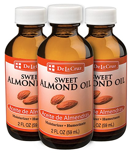De La Cruz Sweet Almond Oil, No Preservatives or Artificial Colors, Expeller-Pressed, Non-GMO 2 FL. OZ. (3 Bottles)