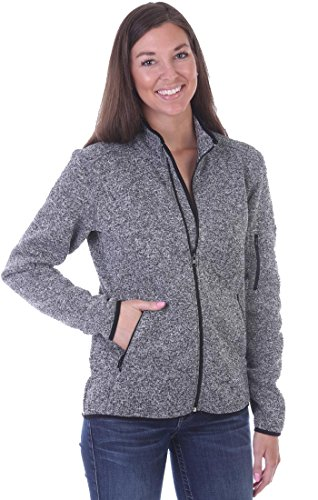 Woodland Supply Co. Women's Fleece Lined Zip Up Knit Sweater Jacket (Medium, Charcoal)