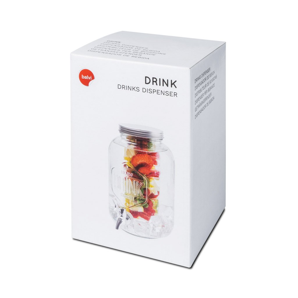 Balvi Dispenser per Bevande Drink Colore Trasparente 3,7L con infusore Cristallo 25x16cm