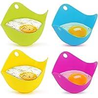 Jhua 4 tazas de silicona para cazador furtivo de huevos, moldes para vainas para escalfar, funcionan con sartén para…