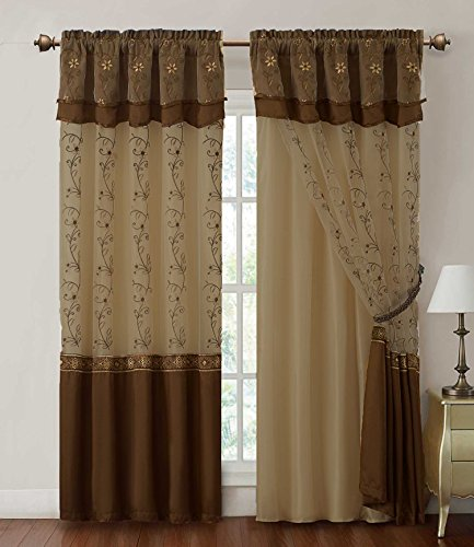 "Victoria Classics Window Curtain Drapery Sheer Panel : One Piece w/Attached Backing and Valance 57""x90"" (Chocolate)"