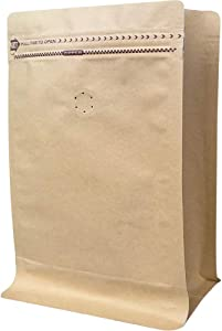 Coffee Bags 0.5 Lb - Kraft Paper Stand up Pouches Bags with Valve - 8oz (50 Pieces) (50, ½ lb / 8oz / 250g)