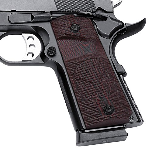 Cool Hand 1911 Compact G10 Grips Big Scoop Mag Release Skull H2-SK1B-6, Red, Compact/Officer
