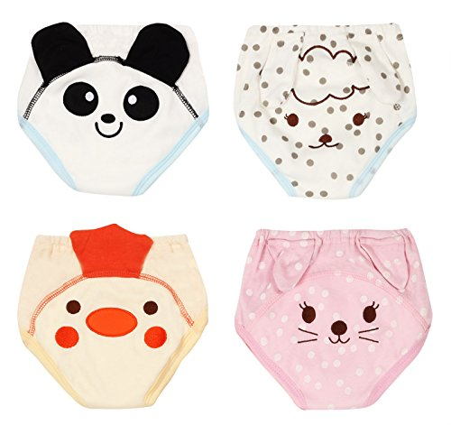 Potty Training Pants for Baby Boys Girls Soft Cotton Toddler Nappy Diaper Underwear Cat Panda Sheep Chick Size 80 Pack of 4 by Joyo roy