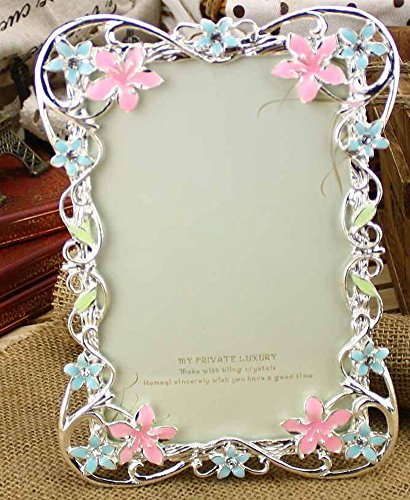 ChezMax Elegant Pink and Blue Flower Pattern Rectangle Metal Photo Frame Home Decor Desktop Picture Frame Table Top Frame 4