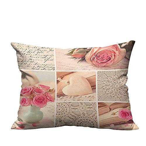 YouXianHome Throw Pillow Cover for Sofa Collage Photos Lace Roses Flower Leaves Old Art Print Light Pink Forest Green Textile Crafts (Double-Sided Printing) 19.5x60 inch