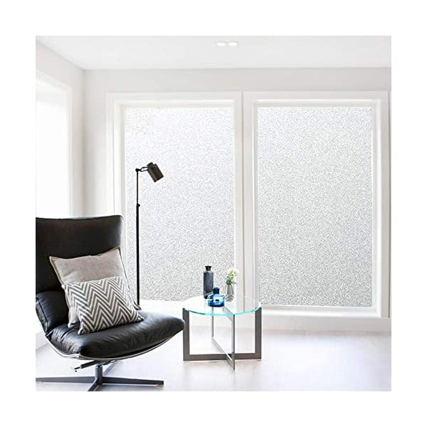 DKTIE Window Privacy Film Non Adhesive Frosted Home Office Film Removable Opaque Window Sticker Self Static Cling Vinly Glass Film for Bathroom (Matte White 23.6by78.7 Inch)
