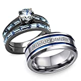Bellux Style His and hers 3 pcs Stainless Steel Romatic Blue Theme Couple Rings Wedding Band (Women's Size 05 & Men's Size 09)