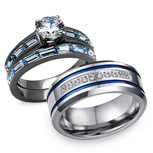 (Bellux Style His and Hers 3 pcs Stainless Steel Romatic Blue Theme Couple Rings Wedding Band (Women's Size 07 & Men's Size)