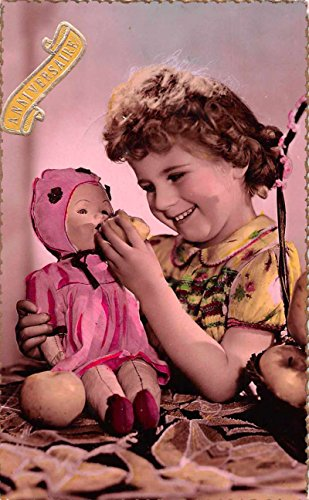 (Little Girl Feeding Fruit to Baby Doll Tinted Real Photo Postcard J73928)