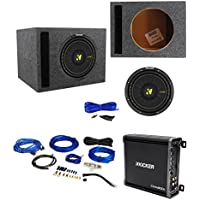 Kicker 44CWCD104 CompC 10 500 Watt DVC Car Subwoofer+Vented Sub Box+Kicker Amp