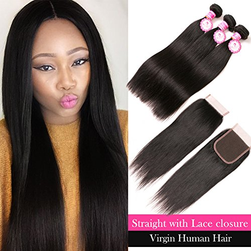 ANNMODE 7A Grade 100% Unprocessed Human Hair Hair Straight Weave 7A Brazilian Virgin Hair 3 Bundles with Lace Closure Free Part Mixed Length for Natural Color Hair Weft