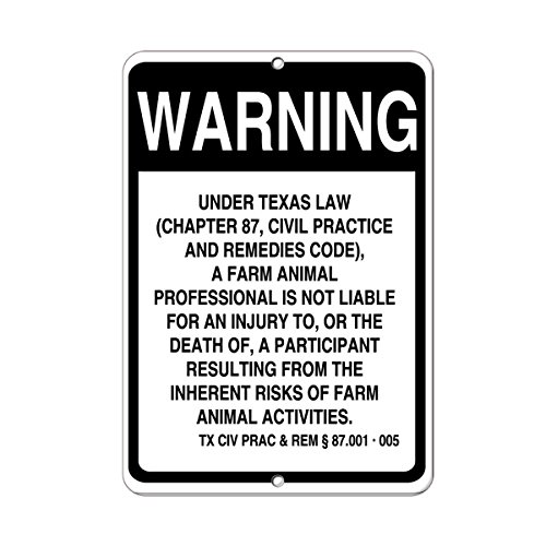 Texas Law Farm Animal Professional Not Liable Injury Death Aluminum METAL Sign 9 in x 12 in by Fastasticdeals