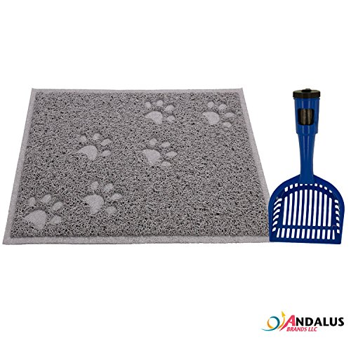 "ANDALUS Gray Non-Slip Cat Litter Trap Mat, Small Size (15.75"" x 12""), Soft on Paws, BPA Free, Phthalate Free, Easy to Clean, Includes a Jumbo Pet Litter Scooper with Waste Bags in Handle (SM + SCOOP)"