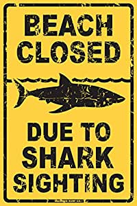 Beach Closed Due to Shark Sighting Tin Sign 12 x 18in
