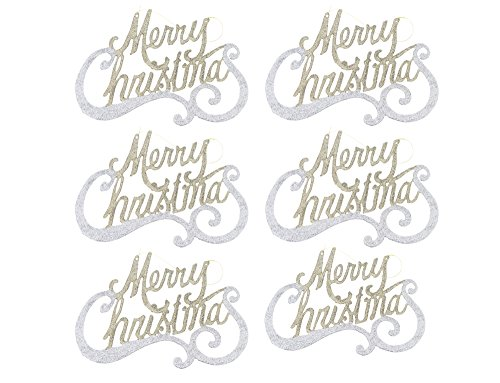- Country Silk Retro Inspired Traditional Christmas Holiday Sparkling Shimmering Glitter Merry Christmas Ornaments, Gold, Silver, Large, Set of 6, 7