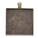 37x45mm Antique Bronze Plated Pendant Trays fit 35x35mm Cabochon-20pcs