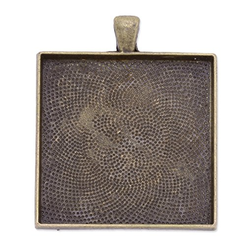 37x45mm Antique Bronze Plated Pendant Trays fit 35x35mm Cabochon-20pcs by Rosebeading
