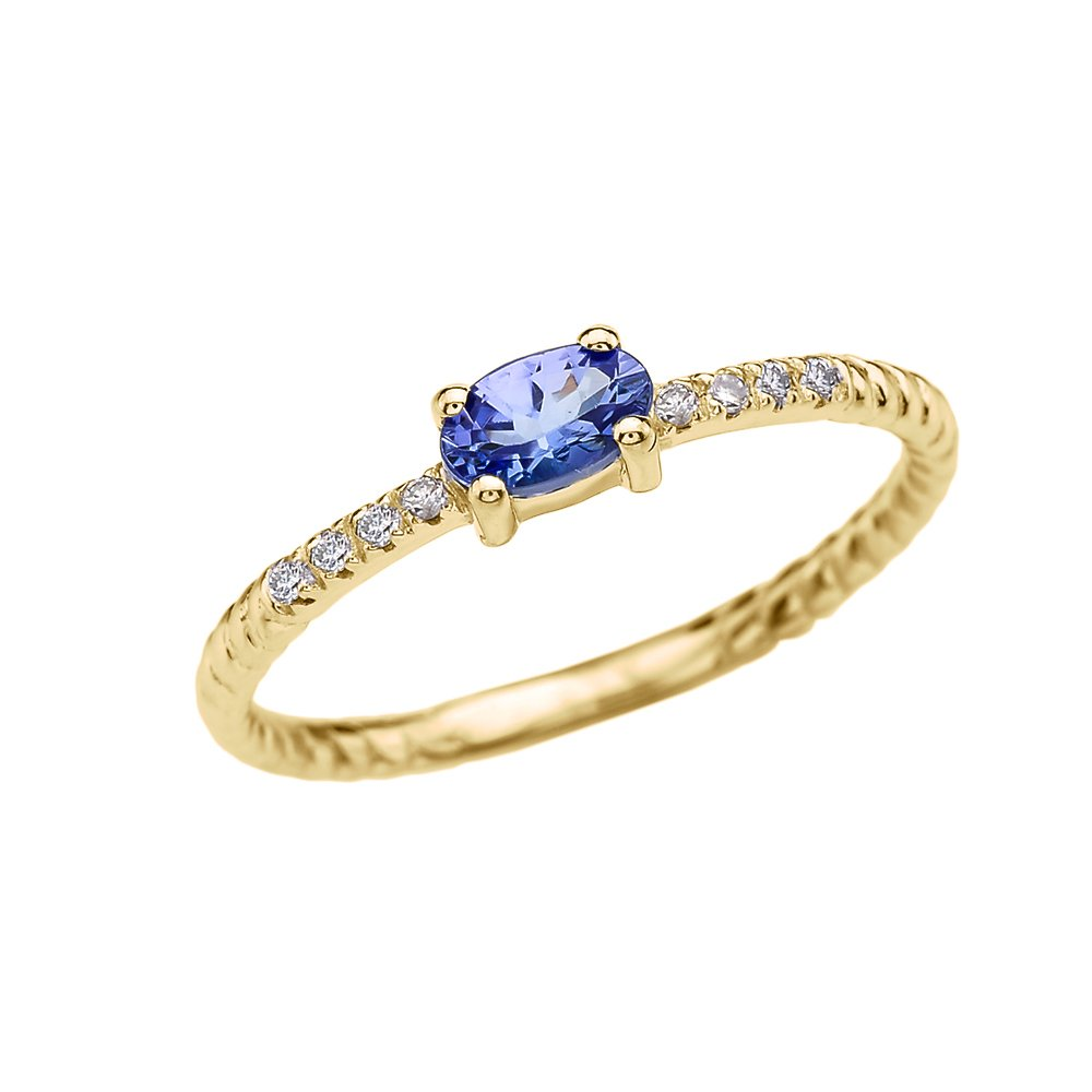 Dainty 14k Yellow Gold Diamond and Solitaire Oval Tanzanite Rope Design Stackable/Proposal Ring(Size 8)