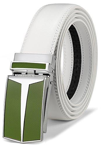 White Genuine Belt (Belt for Men,Bulliant Men's Click Ratchet Belt Of Genuine Leather,Trim to Fit)