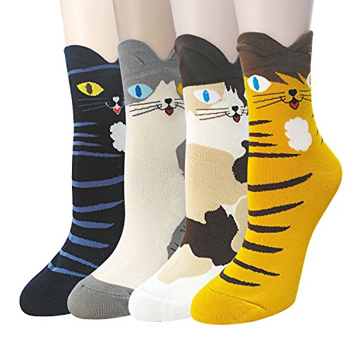 4-5 Pairs Womens Cute Animal Socks Casual Cotton Crew Funny Socks